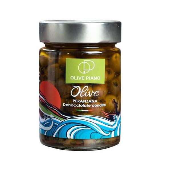 Olive peranzana da tavola denocciolate  condite - vaso da 314 ml