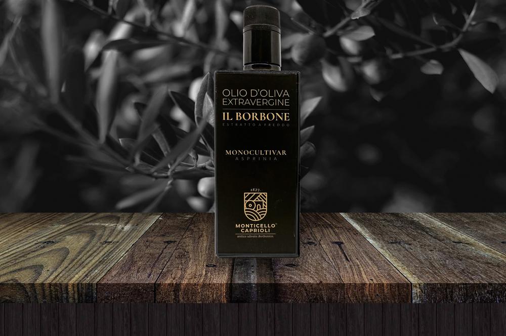 Bottiglia da 500 ml di Olio extravergine d'oliva Il Borbone Monocultivar Asprinia